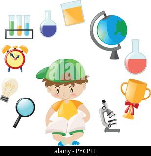 Student and school objects illustration