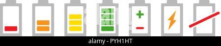Colored battery indicators icon set. Charge level accumulator symbol and sign illustration on white background - Stock Photo