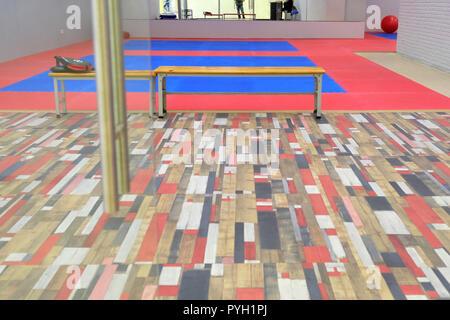 Gym for wrestling. Soft flooring for training priemov - Stock Photo