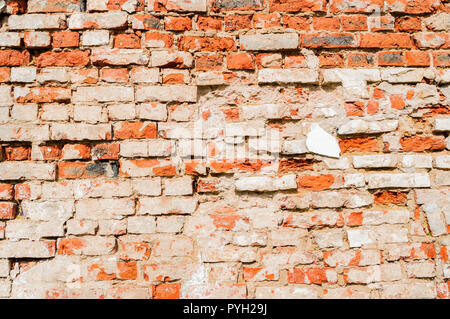 Stone texture background of red brick wall, texture of stone red bricks, closeup - Stock Photo