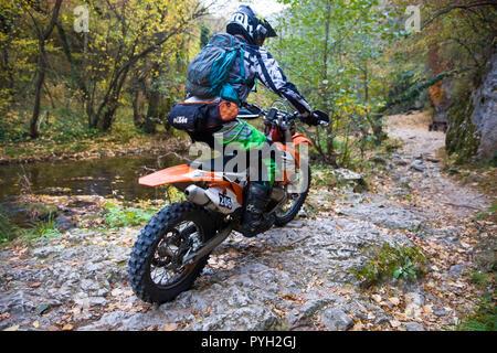 Unidentified driver at Hard Enduro Race in Soko Banja, Serbia. - Stock Photo