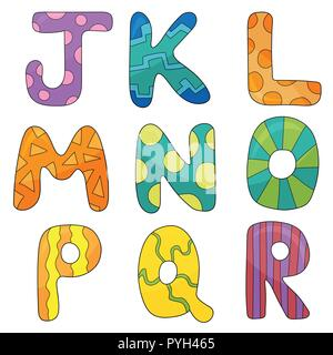 Vector cartoon set of isolated ocartoon style, alphabet letters - Stock Photo