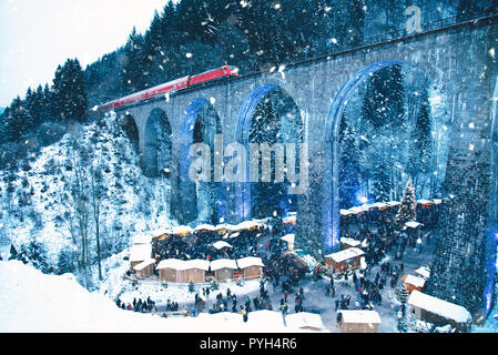 Traditional christmas market in the Ravenna gorge, Germany. - Stock Photo