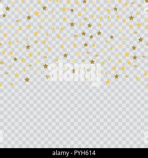 Abstract background with falling gold confetti stars. Vector - Stock Photo