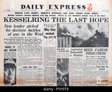 'Kesserling The Last Hope'  Second World War WWII front page headline in Daily Express newspaper article on March 23 1945 London England UK - Stock Photo