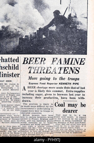 'Beer Famine Threatens More going to the troops' front page headline in the Daily Express newspaper article on March 23 1945 London England UK - Stock Photo