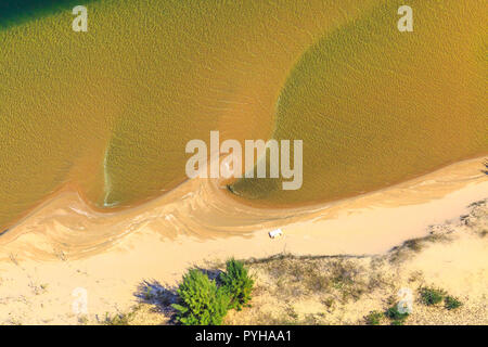 Aerial view of Sodwana Bay National Park within the iSimangaliso Wetland Park, Maputaland, an area of KwaZulu-Natal on the east coast of South Africa. Indian Ocean background. - Stock Photo