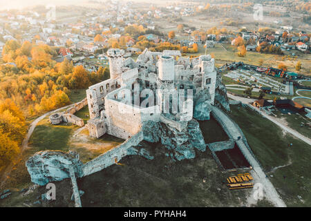 medieval castle ruins located in Ogrodzieniec, Poland - Stock Photo