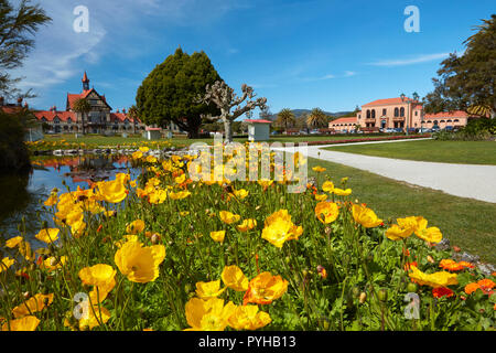 Flowers, Bath House (Rotorua Museum), and Blue Baths, Government Gardens, Rotorua, North Island, New Zealand - Stock Photo