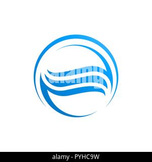Circle waves water in blue color logo template - Stock Photo