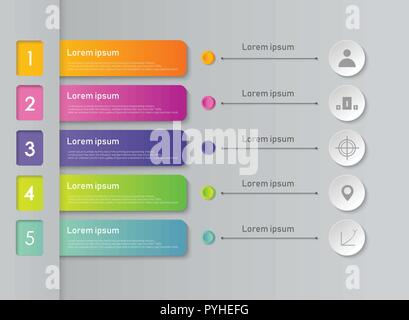 Abstract of colorful infographic business steps background. vector eps10 - Stock Photo