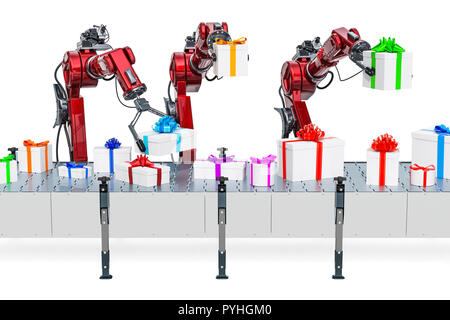 Robotic arms with gift boxes on the conveyor belt, 3D rendering isolated on white background - Stock Photo