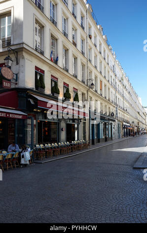 Paris, Ile-de-France, France - View into the Rue Mandar in the 2nd arrondissement from the Rue Montorguell, with the Cafe du Centre on the left. - Stock Photo