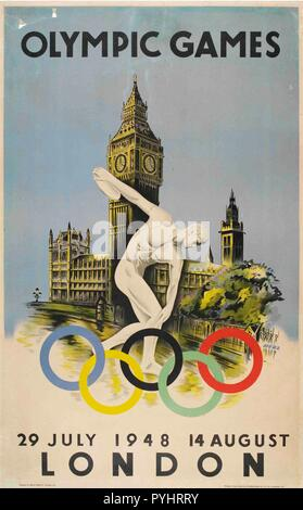 official poster for london olympic games 1948 by walter herz.jpg - PYHRRY  - Stock Photo
