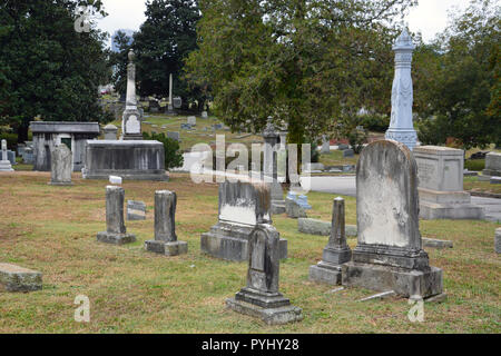 The historic Oakwood Cemetery in Raleigh North Carolina. - Stock Photo