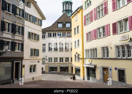 Zurich, Switzerland - March 2017: Glocken-Gasse a medieval alley street in Zurich city centre, Switzerland - Stock Photo