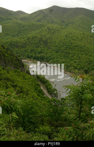 Panoramic view of the New River, seen from the overlook at Hawks Nest State Park, WV - Stock Photo