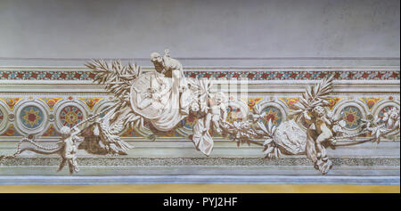 Decoration in the interior of Palazzo dei Normanni (Palace of the Normans) or Royal Palace of Palermo. Sicily, southern Italy. - Stock Photo