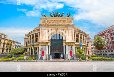 The theatre of Palermo on a sunny summer day. Sicily, southern Italy. - Stock Photo