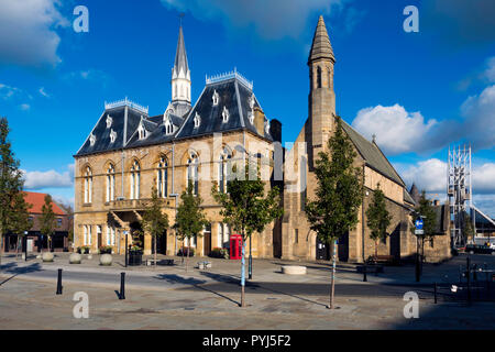 Town Hall St Anne's church and the Auckland Tower Market Place  Bishop Auckland, Co. Durham UK - Stock Photo