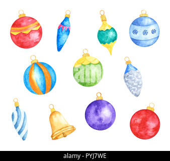 Set of Various Colorful Christmas Tree Decorations. Watercolor Hand Drawn and Painted. Isolated on White Background - Stock Photo