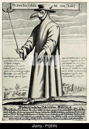 Paul Furst, Copper Engraving of Doctor Schnabel / Dr. Beak, a Plague Doctor in 17th Century Rome, Circa 1656, Print. - Stock Photo