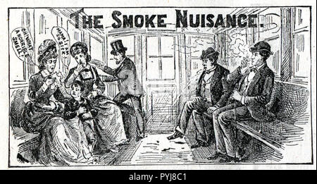 Interior view of a trolley or train car, a man is smoking which is causing considerable discomfort among the other passengers, particularly for two women and a young boy; a gentleman is opening a window at the end of the car. - Stock Photo