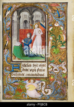 Lieven van Lathem, Charles the Bold Presented by an Angel, , Circa 1471 Tempera colors, gold leaf, gold, silver, ink on parchment, The J. Paul Getty Museum, Los Angeles, USA. - Stock Photo