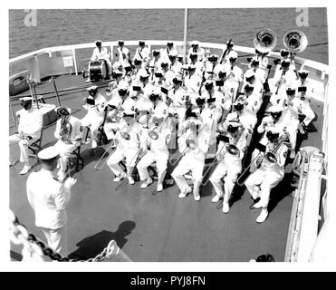 Admiral Chester R. Bender, Change of Command Ceremony June 1, 1970 aboard the USCGC Gallatin at the US Navy Yard. - Stock Photo