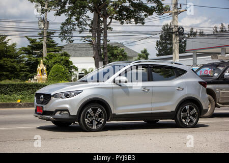Chiangmai, Thailand - September 25 2018: Private Suv Car MG ZS. Product from British automotive. On road no.1001, 8 km from Chiangmai city. - Stock Photo