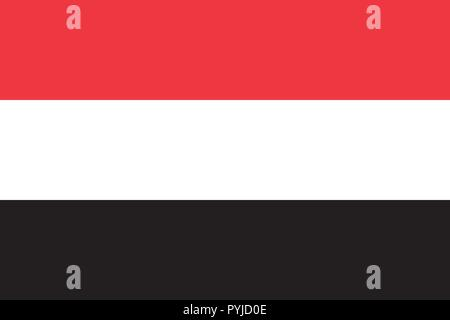 Vector image for Yemen flag. Based on the official and exact Yemeni flag dimensions (3:2) & colors (032C, White and Black) - Stock Photo