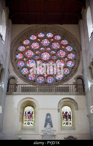 North transept rose window, Cathedral and Abbey Church of Saint Alban, St Albans, Hertfordshire, England - Stock Photo