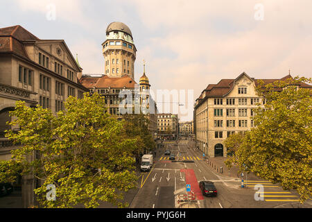 ZURICH, SWITZERLAND - October 20, 2018: A view of architecture in the historic center of Zurich city. - Stock Photo