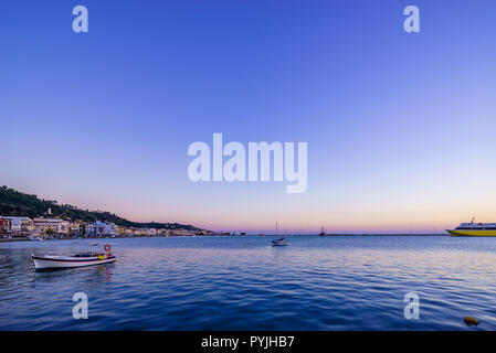 sunset over in Zante town harbor, Zakinthos Greece - Stock Photo