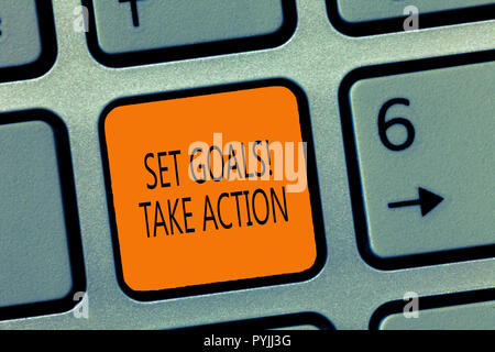 Writing note showing Set Goals Take Action. Business photo showcasing Act on a specific and clearly laid out plans. - Stock Photo