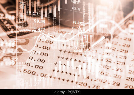 Stock market or forex trading graph and candlestick chart suitable for financial investment concept. Economy trends background for business idea and a - Stock Photo