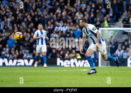 Brighton, UK. 27th Oct 2018. Shane Duffy of Brighton and Hove Albion during the Premier League match between Brighton and Hove Albion and Wolverhampton Wanderers at the AMEX Stadium, Brighton, England on 27 October 2018. Photo by Liam McAvoy. Credit: UK Sports Pics Ltd/Alamy Live News - Stock Photo