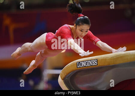 Doha, Qatar. 28th Oct, 2018. Liu Jinru (CHN), October 28, 2018 - Artistic Gymnastics : The 2018 Artistic Gymnastics World Championships, Women's team Qualification Vault at Aspire Dome in Doha, Qatar. Credit: MATSUO.K/AFLO SPORT/Alamy Live News - Stock Photo