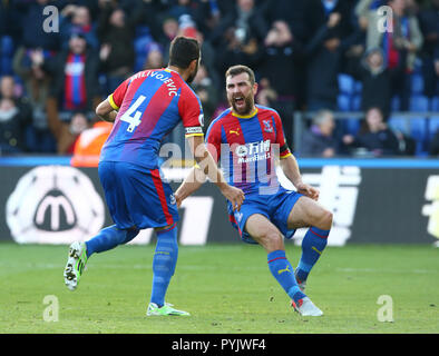 London, UK. 28th Oct, 2018. Editorial use only, license required for commercial use. No use in betting, games or a single club/league/player publications.  London, UK. 28 October 2018.  Crystal Palace's Luka Milivojevic CELEBRATES HIS GOAL WITH Crystal Palace's James McArthur during Premier League between Crystal Palace and Arsenal at Selhurst Park stadium , London, England on 28 Oct 2018. Credit Action Foto Sport  FA Premier League and Football League images are subject to DataCo Licence. Editorial use ONLY. No print sales. No personal use sales. NO UNPAID USE Credit: Action Foto Sport/Alamy  - Stock Photo