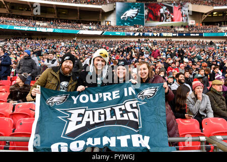 London, UK.  28 October 2018.  Philadelphia Eagles at Jacksonville Jaguars NFL game at Wembley Stadium, the final game in the NFL London 2018 series.  Credit: Stephen Chung / Alamy Live News - Stock Photo