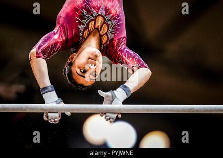 Doha, Qatar. 28th Oct, 2018. October 28, 2018: Nicolle Castro of  Mexico during Uneven Bars qualification at the Aspire Dome in Doha, Qatar, Artistic FIG Gymnastics World Championships. Ulrik Pedersen/CSM Credit: Cal Sport Media/Alamy Live News - Stock Photo