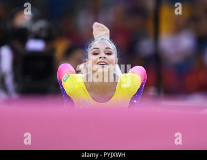 Doha, Qatar. 28th Oct, 2018. Flavia Saraiva (Brazil) at the ground. GES/Gymnastics/Gymnastics World Championships in Doha, Qualification, 28.10.2018 - GES/Artistic Gymnastics/Gymnastics World Championships: 28.10.2018 - | usage worldwide Credit: dpa/Alamy Live News - Stock Photo