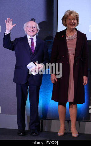 Dublin, Ireland. 27th Oct, 2018. President of Ireland, Michael D Higgins, at the results centre in Dublin Castle, with his wife Sabina, where it was announced he had won a second term as President, with a record 58% of the vote. Photo: Sam Boal/RollingNews.ie - Stock Photo