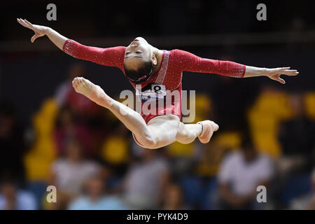 Doha, Qatar. 28th Oct, 2018. LIU TINGTING competes on the balance beam during the second day of preliminary competition held at the Aspire Dome. Credit: Amy Sanderson/ZUMA Wire/Alamy Live News - Stock Photo