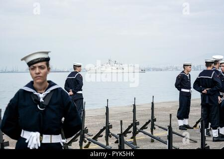 Thessaloniki, Greece. 28th Oct, 2018. Members of Greek Navy are seen preparing for military parade of the WWII Anniversary of No.The Greek military prepares for the annual military parade for celebrating Greece's National 'Oxi' (No) Day, commemorating Greece's refusal to accept the ultimatum advanced by fascist Italy in 1940 during World War II. Credit: Giorgos Zachos/SOPA Images/ZUMA Wire/Alamy Live News - Stock Photo