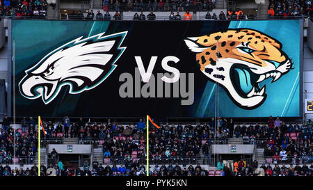 London, UK.  28 October 2018.  Philadelphia Eagles at Jacksonville Jaguars NFL game at Wembley Stadium, the final game in the NFL London 2018 series. Final score: Eagles 24 Jaguars 18. Credit: Stephen Chung / Alamy Live News - Stock Photo