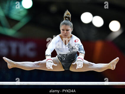 Doha, Qatar. 28th Oct, 2018. Caterina Barloggio of the Switzerland performs during the Women's Uneven Bars Qualification of the 48th Gymnastics World Championships in Doha, capital of Qatar, Oct. 28, 2018. Credit: Nikku/Xinhua/Alamy Live News - Stock Photo