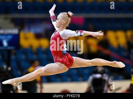 Doha, Qatar. 28th Oct, 2018. Angelina Melnikova of Russia performs during the Women's Floor Exercise Qualification of the 48th Gymnastics World Championships in Doha, capital of Qatar, Oct. 28, 2018. Credit: Nikku/Xinhua/Alamy Live News - Stock Photo
