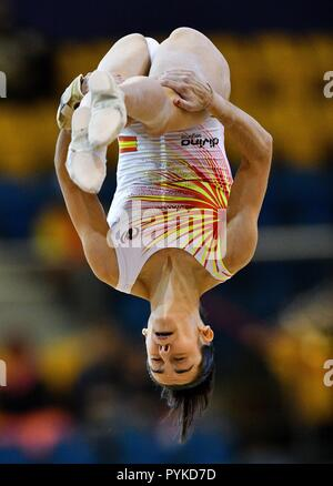 Doha, Qatar. 28th Oct, 2018. Ana Perez of Spain performs during the Women's Floor Exercise Qualification of the 48th Gymnastics World Championships in Doha, capital of Qatar, Oct. 28, 2018. Credit: Nikku/Xinhua/Alamy Live News - Stock Photo