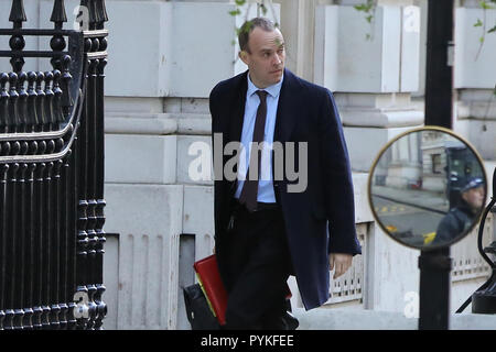 Downing Street, London, UK. 29th Oct, 2018. Dominic Raab - Brexit Secretary arrives in Cabinet Office on Budget Day. Credit: Dinendra Haria/Alamy Live News - Stock Photo